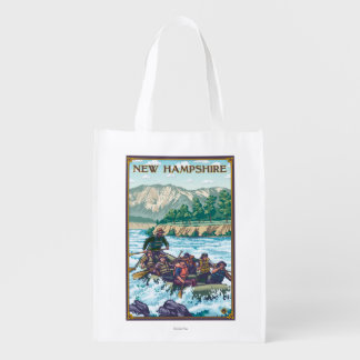 New HampshireRiver Rafting Scene Reusable Grocery Bag