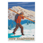 New HampshireSkier Carrying Skis Print