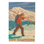 New HampshireSkier Carrying Skis Wood Prints
