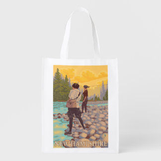 New HampshireWomen Fly Fishing Scene Grocery Bags