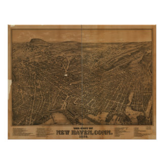 New Haven Connecticut 1879 Antique Panoramic Map Print