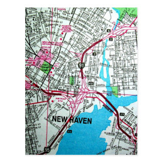 NEW HAVEN, CT Vintage Map Postcard