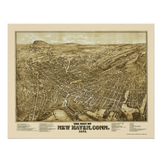 New Haven, mapa panorámico del CT - 1879 Póster