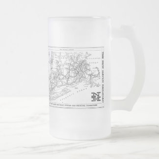 New Haven Railroad 1956 Map Frosted Glass Beer Mug