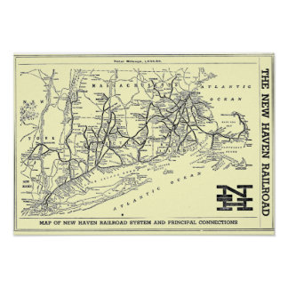 New Haven Railroad 1956 Map Poster