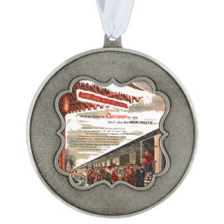 New Haven Railroad Christmas 1947 Pewter Ornament