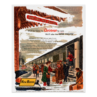 New Haven Railroad Christmas 1947 Poster