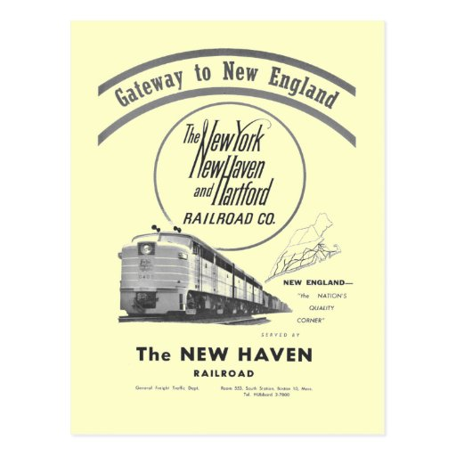 New Haven Railroad-Gateway to New England 1950 Postcards