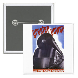 New Haven Railroad Greater Power 1938 2 Inch Square Button