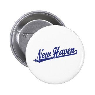 New Haven script logo in blue 2 Inch Round Button