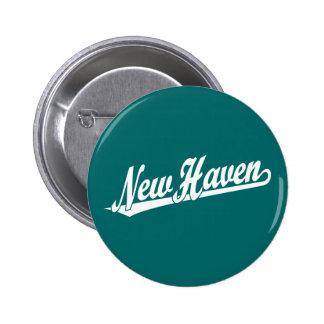 New Haven script logo in white 2 Inch Round Button
