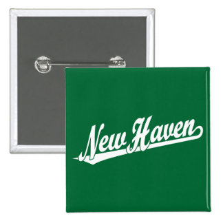 New Haven script logo in white 2 Inch Square Button