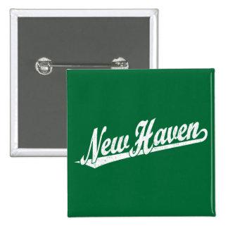 New Haven script logo in white distressed 2 Inch Square Button