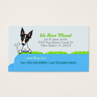 New Home Address Happy Dog Blue Business Card