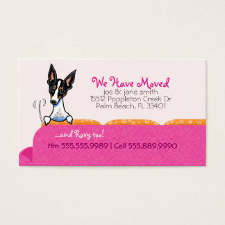 New Home Address Happy Dog Pink Business Card