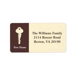 New Home Address Labels - Brown