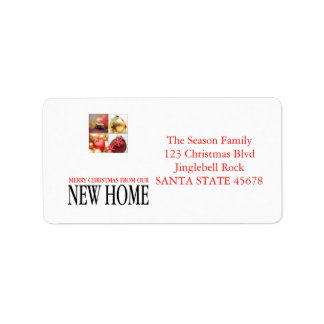 New Home Christmas ornaments collage Label