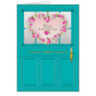 New Home - Congratulations - Door with pink wreath Card