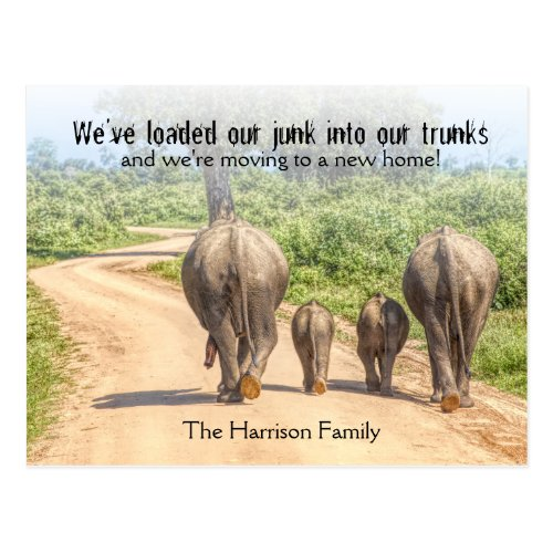 New Home Elephants Were Moving Announcement Funny Postcard