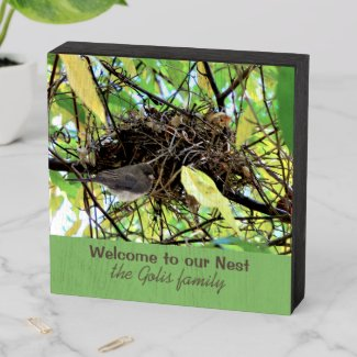 New Home Family Name / Bird Nest Photo  Wooden Box Sign