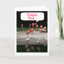 """**NEW HOME"""" FLAMINGOS ARE """"TICKLED PINK"""" CARD"""