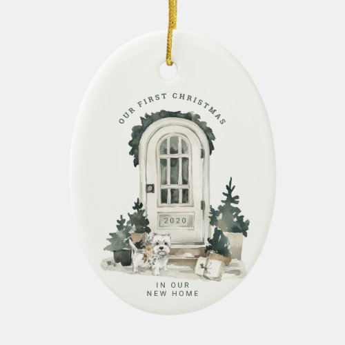 New Home for the Holidays  Door with Cute Dog Ceramic Ornament