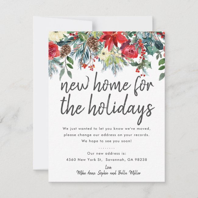 New Home for the holidays Moving Announcement Card