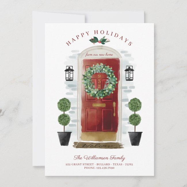 New Home For the Holidays Red Watercolor Door Holiday Card