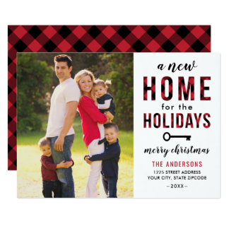 New Home Holiday Photo Card | Red Buffalo Plaid