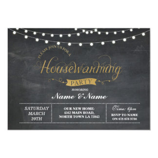 New Home Housewarming Party Black Gold Key Invite
