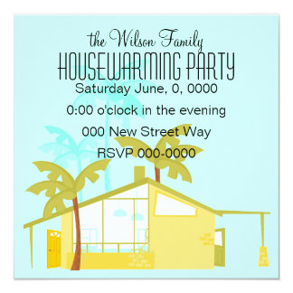 "New Home in the Palms 5.25"" Square Invitation Card"