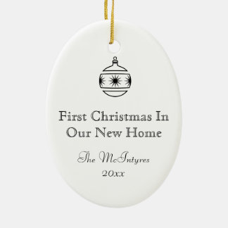New Home Ink Drawing Black and White Ceramic Ornament