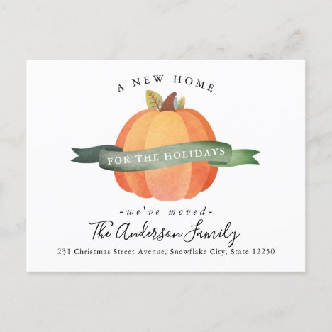 New Home Moved Thanksgiving Pumpkin Holiday Moving Announcement Postcard