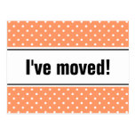 New home moving postcard coral and white polkadots