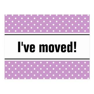 New home moving postcard lavender purple polkadots