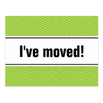 New home moving postcards   apple green chevron