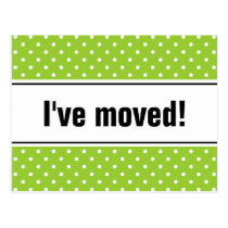 New home moving postcards   apple green polkadots