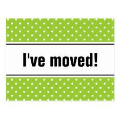 New home moving postcards | apple green polkadots at Zazzle