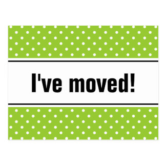 New home moving postcards | apple green polkadots