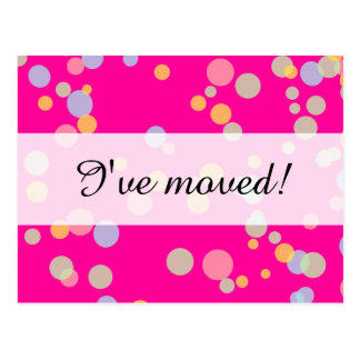 New home moving postcards | colorful confetti dots