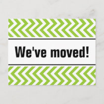 New home moving postcards | green zigzag stripes