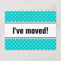 New home moving postcards | turquoise polkadots