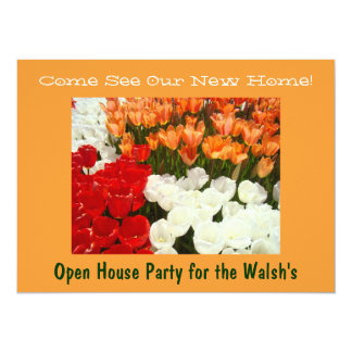"""New Home Open House Party Homewarming Tulips 5.5"""" X 7.5"""" Invitation Card"""