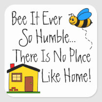 New Home Real Estate Bee Square Sticker