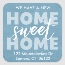 New Home Sweet Home Blue Address Label