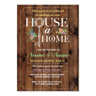 New Home Sweet House Warming Wood Key Invite