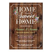 New Home Sweet Home House Warming Wood Key Invite