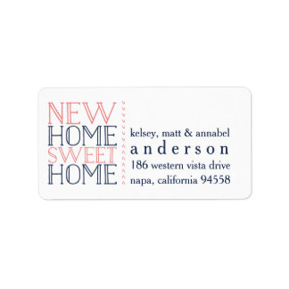 New Home Sweet Home Moving Announcement Label