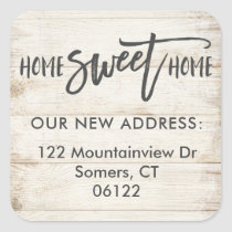 New Home Sweet Home Wood Address Label