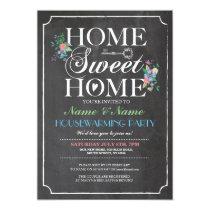 New Home Sweet HouseWarming Chalk Board Key Invite